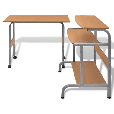 Computer Desk Adjustable Workstation Brown[2/6]