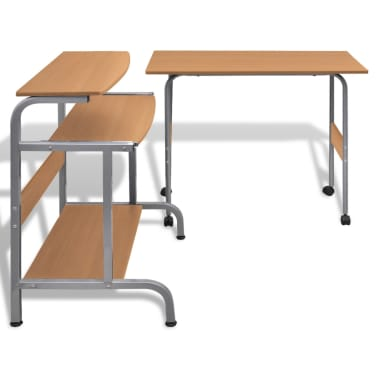 Computer Desk Adjustable Workstation Brown[3/6]