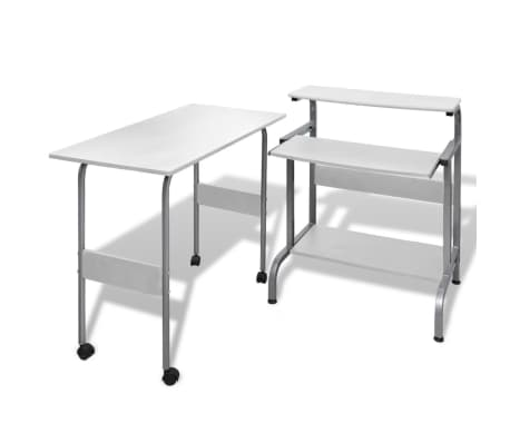 Computer Desk Adjustable Workstation White[1/6]