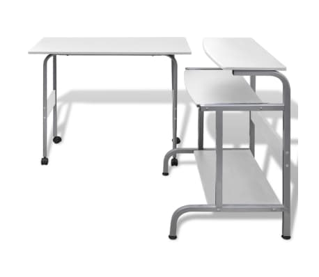 Computer Desk Adjustable Workstation White[2/6]