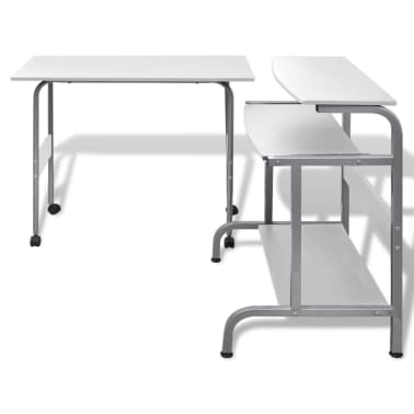 Computer Desk Adjustable Workstation White[3/6]