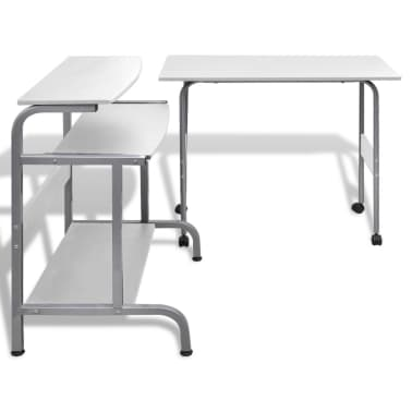 Computer Desk Adjustable Workstation White[4/6]