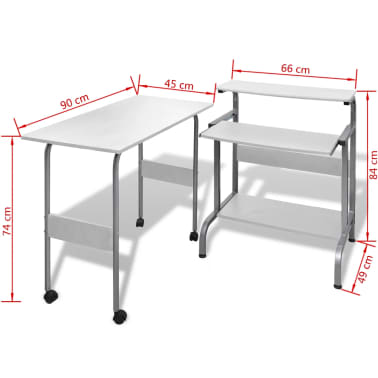 Computer Desk Adjustable Workstation White[6/6]