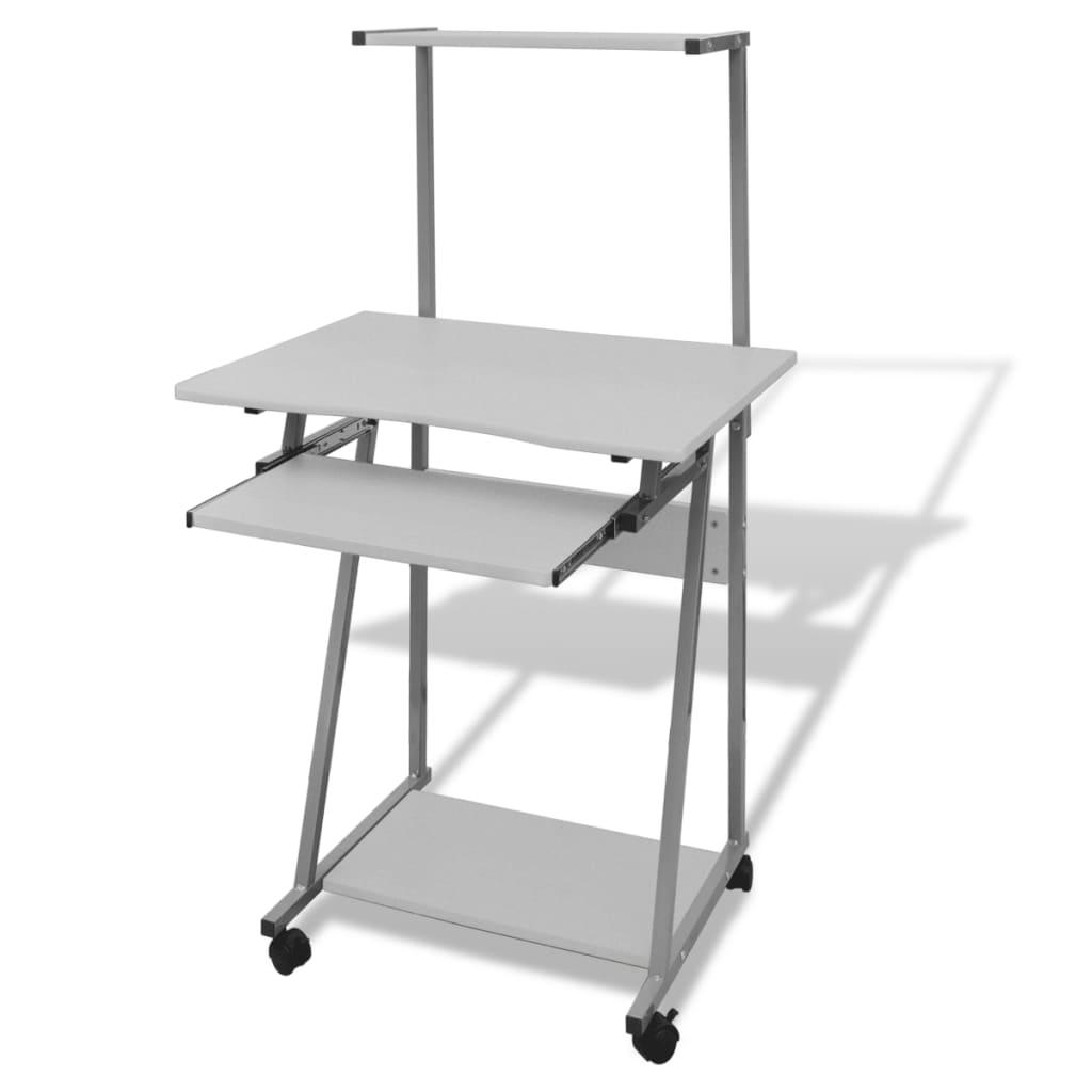 Počítačový stůl s vysouvací deskou a horní poličkou bílý