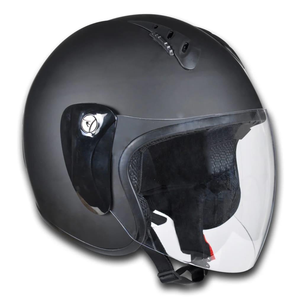 Cască motocicletă open-face cu vizieră M Negru imagine vidaxl.ro