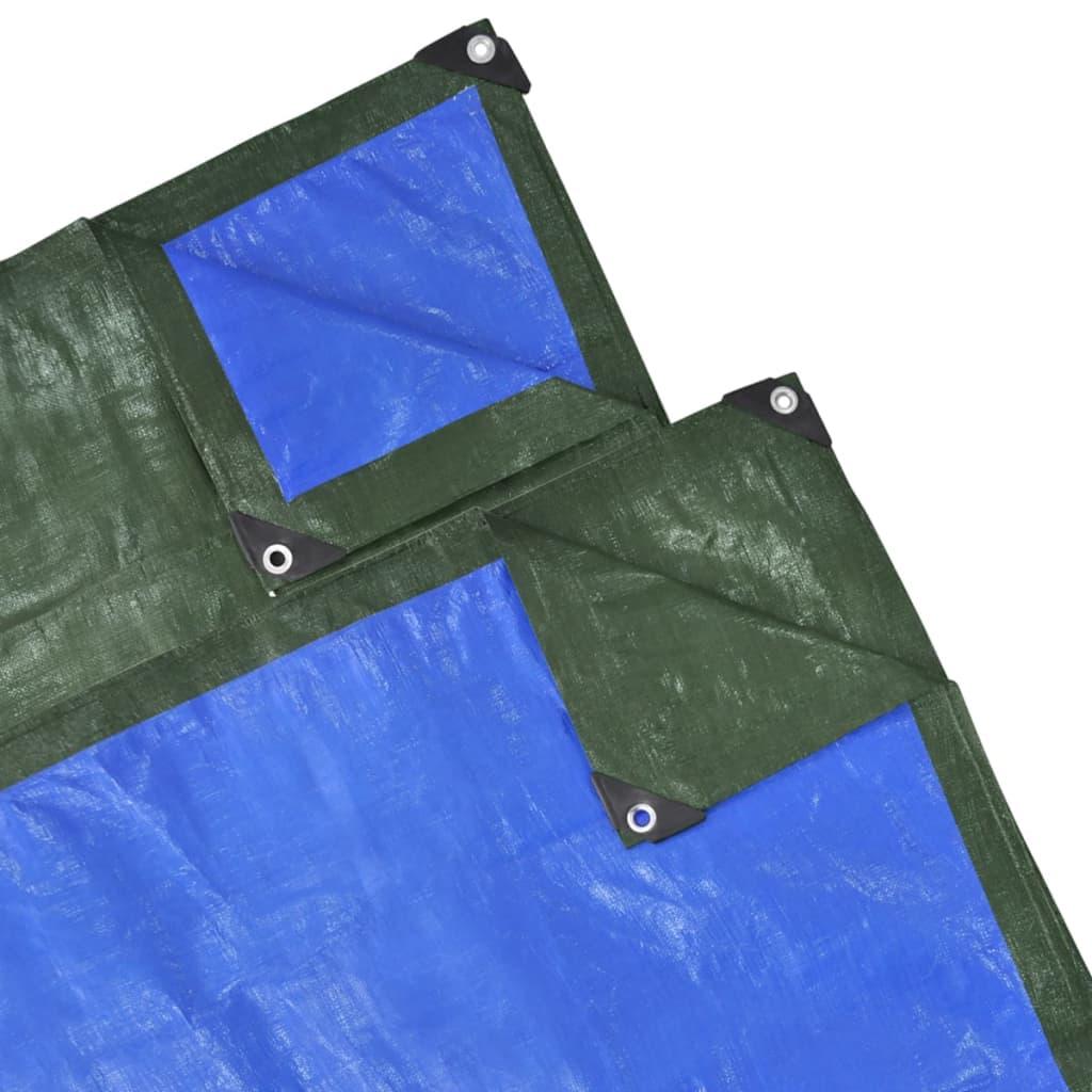 Zelená / modrá PE krycí plachta 15 x 10 m 210 g / m2