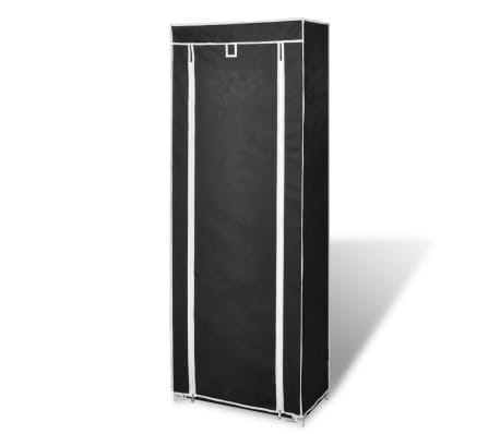 "Fabric Shoe Cabinet with Cover 22"" x 11"" x 64"" Black[3/7]"