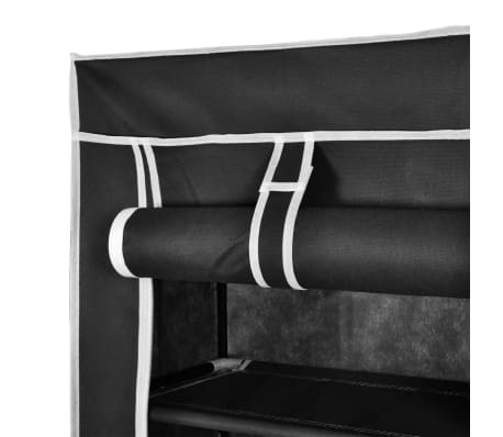 "Fabric Shoe Cabinet with Cover 22"" x 11"" x 64"" Black[5/7]"