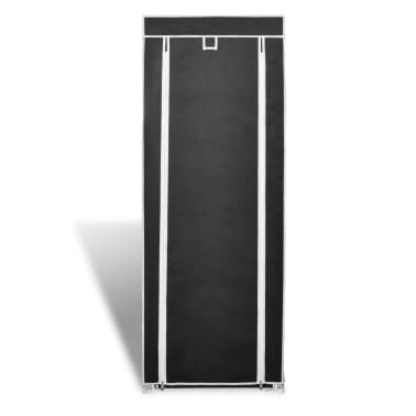 "Fabric Shoe Cabinet with Cover 22"" x 11"" x 64"" Black[2/7]"