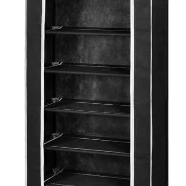 "Fabric Shoe Cabinet with Cover 22"" x 11"" x 64"" Black[6/7]"