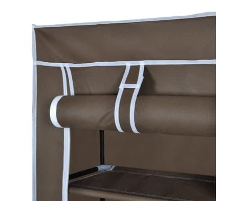 vidaXL Materiałowa szafka na buty z osłoną, 57 x 29 x 162 cm, brązowa[5/7]