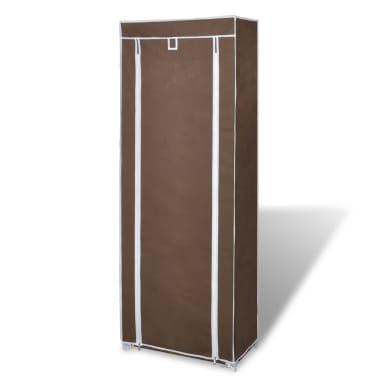vidaXL Materiałowa szafka na buty z osłoną, 57 x 29 x 162 cm, brązowa[3/7]