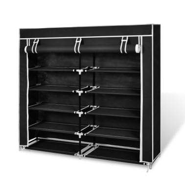 "vidaXL Fabric Shoe Cabinet with Cover 45"" x 11"" x 43"" Black[1/7]"