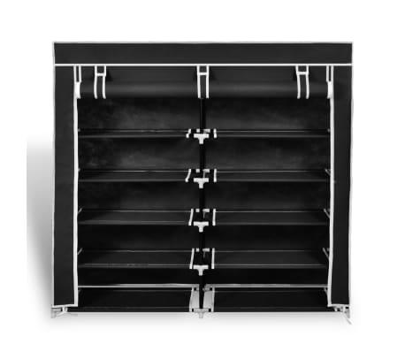 vidaXL Skoskap i stoff med trekk 115 x 28 x 110 cm svart[2/7]