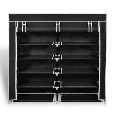 "vidaXL Fabric Shoe Cabinet with Cover 45"" x 11"" x 43"" Black[2/7]"
