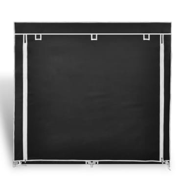 "vidaXL Fabric Shoe Cabinet with Cover 45"" x 11"" x 43"" Black[3/7]"