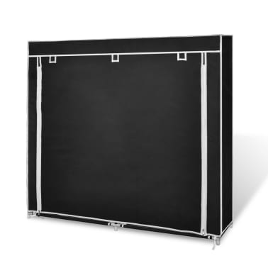 "vidaXL Fabric Shoe Cabinet with Cover 45"" x 11"" x 43"" Black[4/7]"