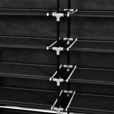 vidaXL Skoskap i stoff med trekk 115 x 28 x 110 cm svart[6/7]