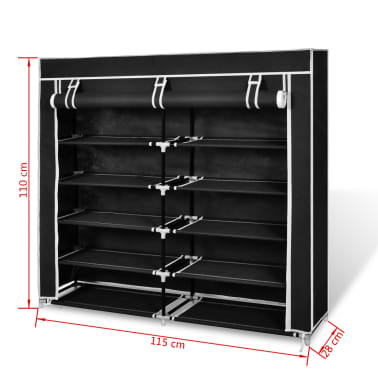 "vidaXL Fabric Shoe Cabinet with Cover 45"" x 11"" x 43"" Black[7/7]"