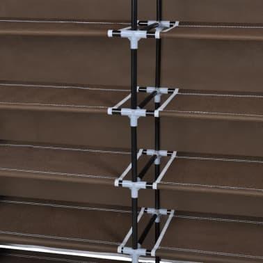 vidaXL Armoire à chaussures avec housse 115 x 28 x 110 cm Tissu Marron[6/7]