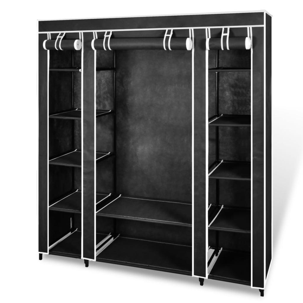 vidaXL Látková šatní skříň s přihrádkami a tyčemi 45x150x176 cm černá