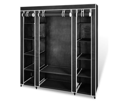 "vidaXL Fabric Wardrobe with Compartments and Rods 17.7""x59""x69"" Black[1/7]"
