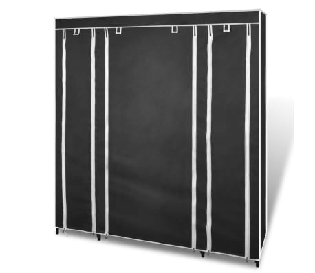 "vidaXL Fabric Wardrobe with Compartments and Rods 17.7""x59""x69"" Black[3/7]"