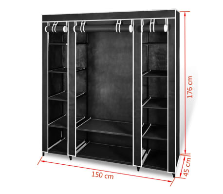 vidaXL Fabric Wardrobe with Compartments and Rods 45x150x176 cm Black[7/7]