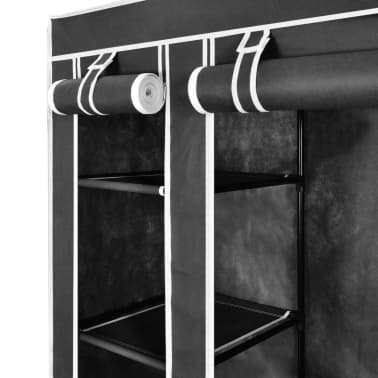 vidaXL Fabric Wardrobe with Compartments and Rods 45x150x176 cm Black[4/7]