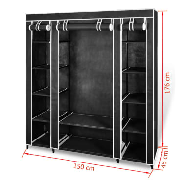 "vidaXL Fabric Wardrobe with Compartments and Rods 17.7""x59""x69"" Black[7/7]"
