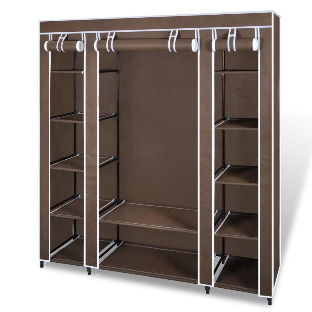 vidaXL Látková šatní skříň s přihrádkami a tyčemi 45x150x176 cm hnědá