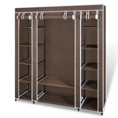 vidaXL Armário tecido c/ compartimentos e varões 45x150x176cm castanho[1/7]