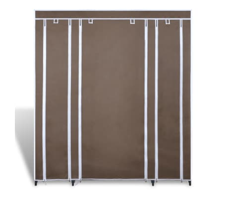 vidaXL Látkový šatník s priečinkami a tyčami 45x150x176 cm, hnedý[2/7]