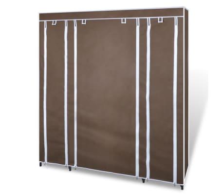 vidaXL Látkový šatník s priečinkami a tyčami 45x150x176 cm, hnedý[3/7]