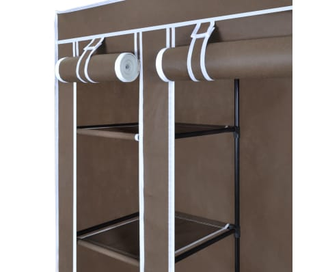vidaXL Fabric Wardrobe with Compartments and Rods 45x150x176 cm Brown[4/7]