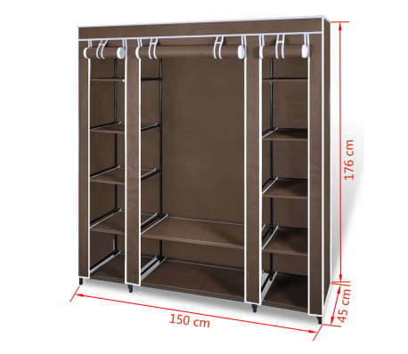 vidaXL Armário tecido c/ compartimentos e varões 45x150x176cm castanho[7/7]