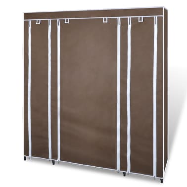 vidaXL Fabric Wardrobe with Compartments and Rods 45x150x176 cm Brown[3/7]