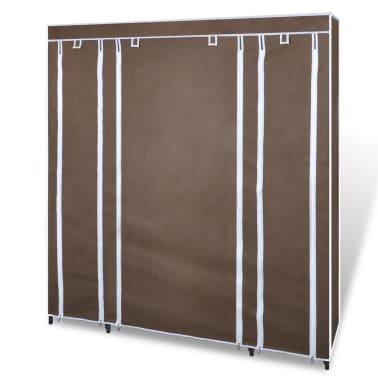 vidaXL Armário tecido c/ compartimentos e varões 45x150x176cm castanho[3/7]