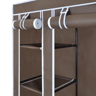 vidaXL Látkový šatník s priečinkami a tyčami 45x150x176 cm, hnedý[4/7]