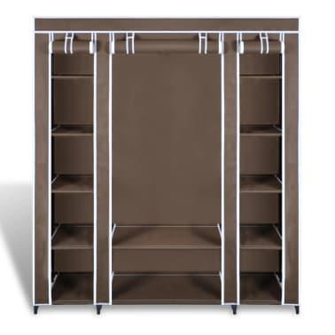 vidaXL Armário tecido c/ compartimentos e varões 45x150x176cm castanho[5/7]