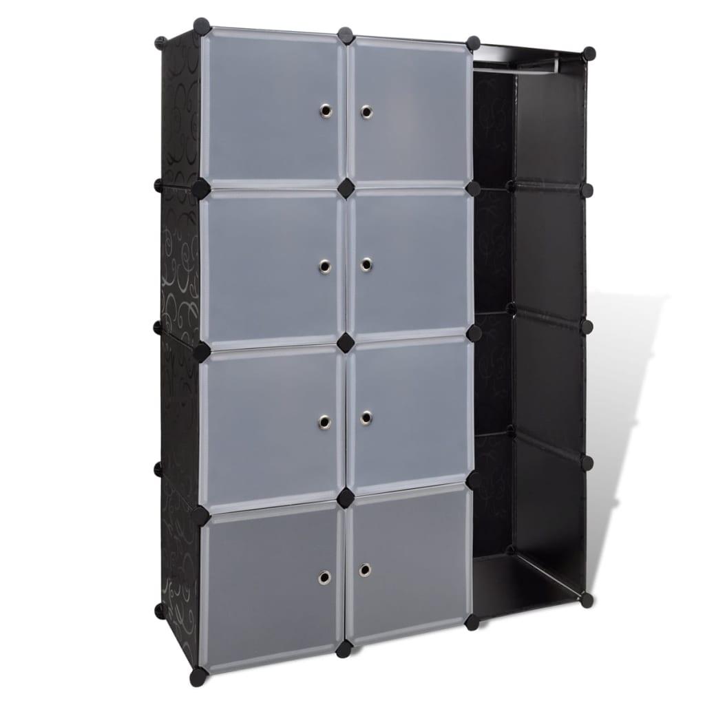 Afbeelding van vidaXL Kast met 9 compartimenten modulair 37x115x150 cm zwart en wit