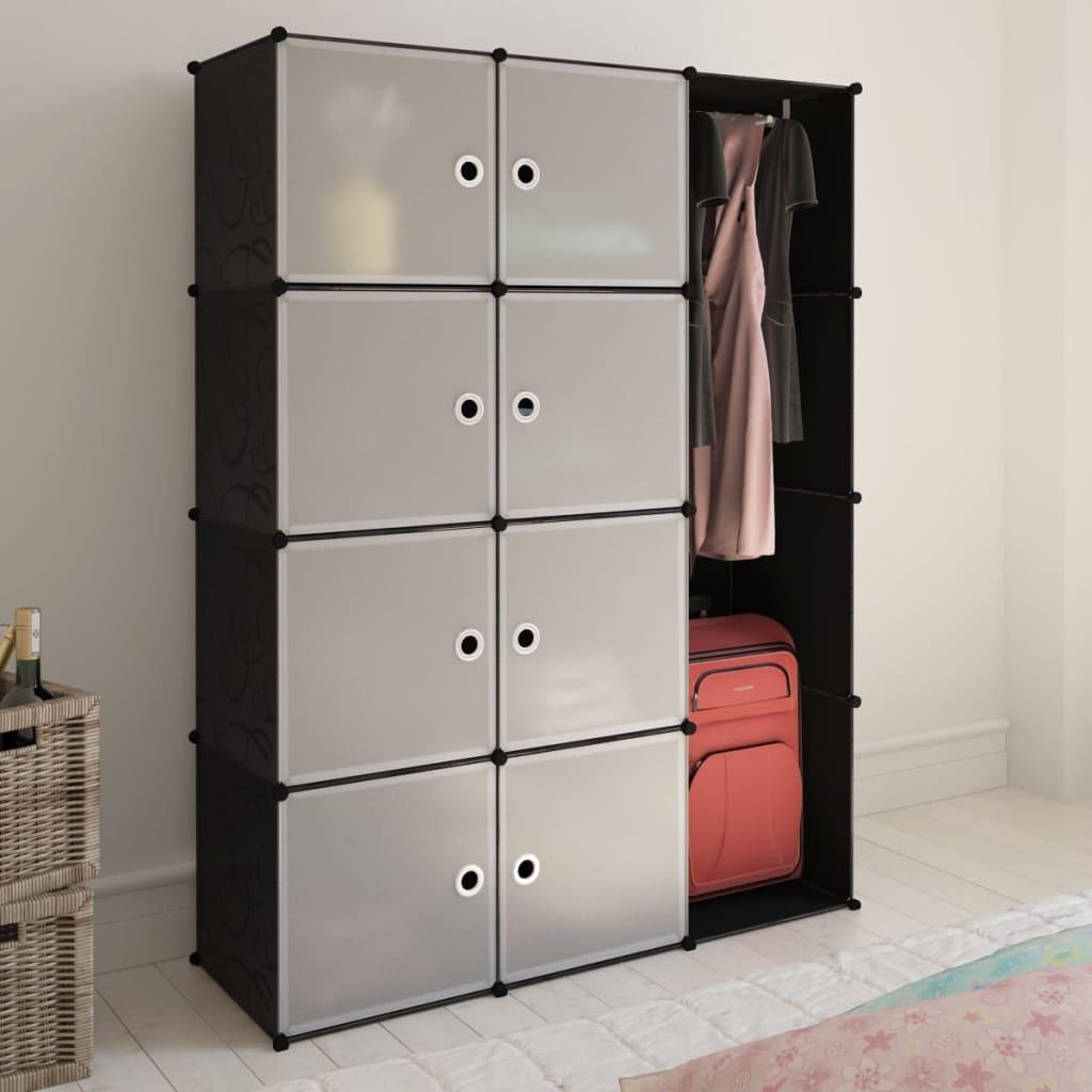 vidaXL Dulap modular cu 9 compartimente, 37x115x150 cm, negru și alb vidaxl.ro