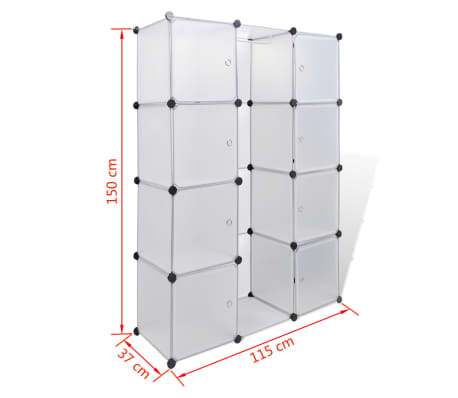 vidaXL Armoire modulaire 9 compartiments Blanc 37 x 115 x 150 cm[7/7]