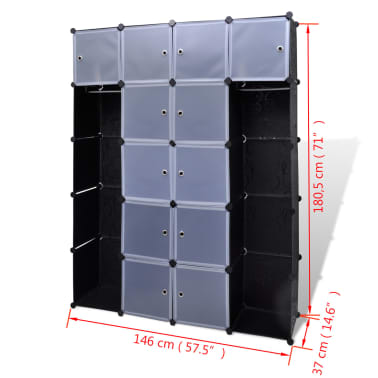 "Modular Cabinet with 14 Compartments 14.6""x57.5""x71""[6/6]"