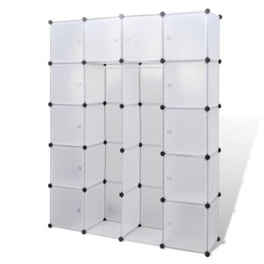 vidaXL Cabinet modulable avec 14 compartiments blanc 37x146x180,5 cm[2/6]