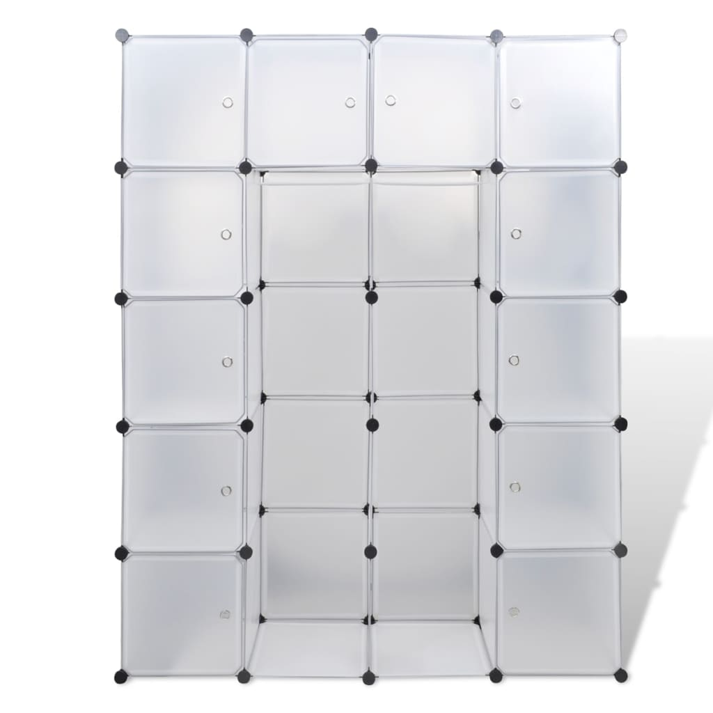 Modulaire kast met 14 compartimenten wit 37 x 146 x 180,5 cm