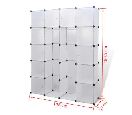 vidaXL Cabinet modulable avec 14 compartiments blanc 37x146x180,5 cm[6/6]