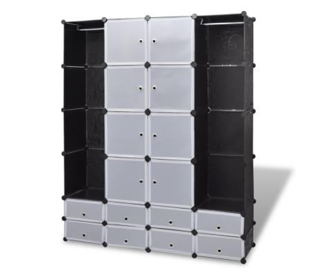 vidaXL Cabinet modulable avec 18 compartiments noir et blanc 37x146x180,5 cm[2/7]