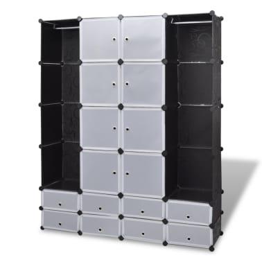 vidaXL Modulární skříň s 18 přihrádkami černobílá 37x146x180,5 cm[2/7]