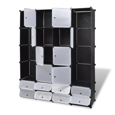 vidaXL Modulární skříň s 18 přihrádkami černobílá 37x146x180,5 cm[3/7]